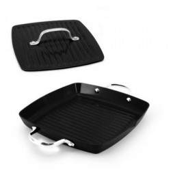 Ecopan BBQ  Set of 2: 28 x 28cm Square Grill with 2 Handles + 22cm Square Meat Press Black