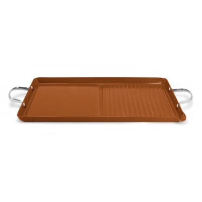 Ecopan BBQ  46 x 25cm Double Burner Grill/Griddle Bronze