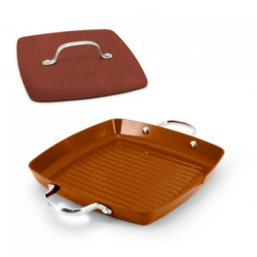 Ecopan BBQ  Set of 2: 28 x 28cm Square Grill with 2 Handles + 22cm Square Meat Press